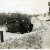 Overturned truck on the Alaska Highway