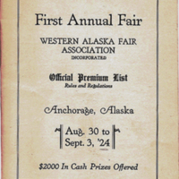 Western Alaska Fair Association premium list, 1924