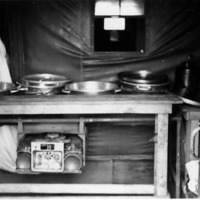 Military cookery station in mess hall, possibly in Aleutians