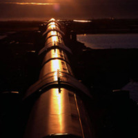 Midnight sun over pipeline