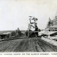Suicide curve. Change gears. On the Alaska Highway. Yukon, Canada.
