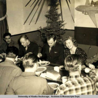 Ingrid Bergman at Christmas dinner, Ft. Richardson