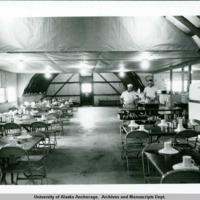 Driftwood Bay DEW Line extension construction camp dining hall, Unalaska Island, 1958.