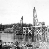 Construction of Liard River bridge